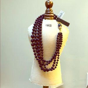 J.Crew dark violet pearls w/ gold/diamond ladybug